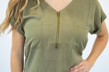 Load image into Gallery viewer, Classic Zipper Tee | Olive