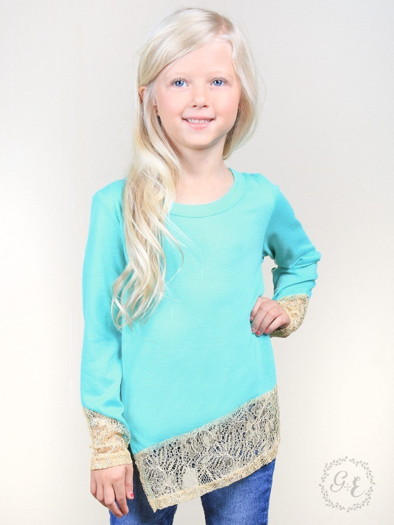 Girls Mint Sweater with Gold Lace Hem