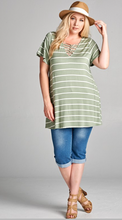 Load image into Gallery viewer, Charlotte striped top in sage