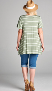 Charlotte striped top in sage