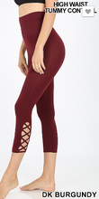Load image into Gallery viewer, Lattice detail seamless capri leggings in dark burgundy
