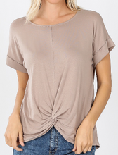 Load image into Gallery viewer, All knotted up short sleeve top in ash mocha