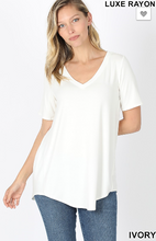 Load image into Gallery viewer, Basic B v neck tee in ivory
