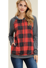 Load image into Gallery viewer, Talk plaid to me hooded pullover