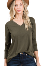 Load image into Gallery viewer, Forward march v neck top in dark olive
