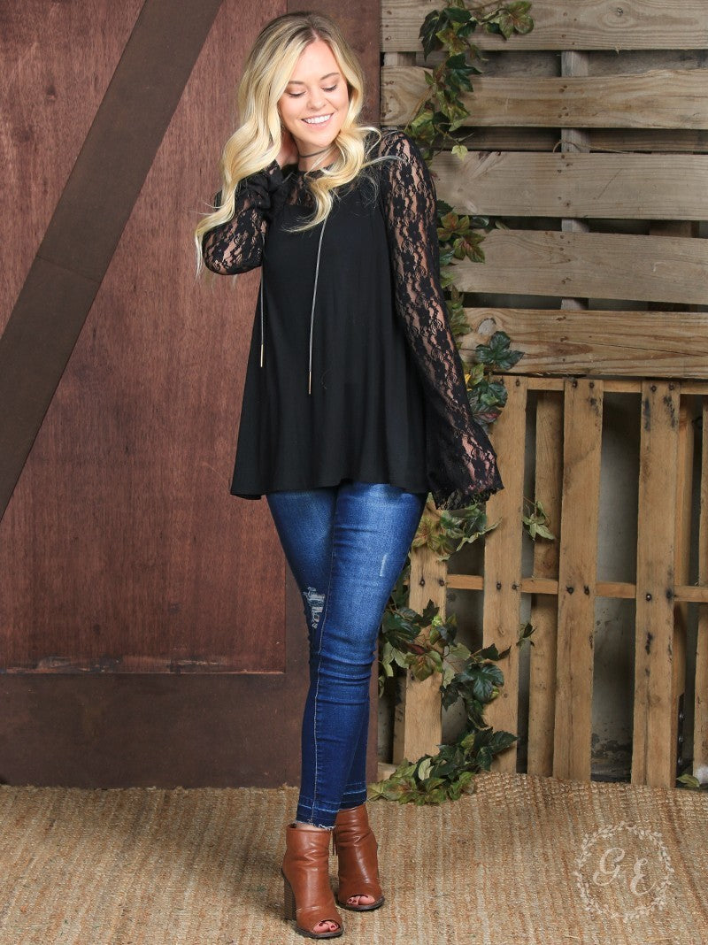 Black Lace Bell Sleeve Holiday Top