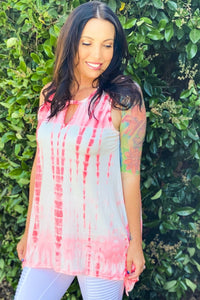 Cherish Forever Keyhole Tunic in Neon Pink