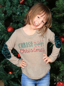 Girls Christ Makes Christmas Sweater with Velvet Elbow