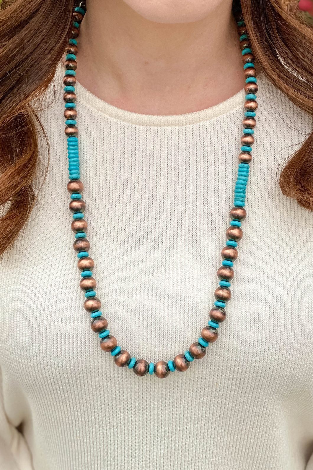 West & Co Copper and Turquoise Necklace