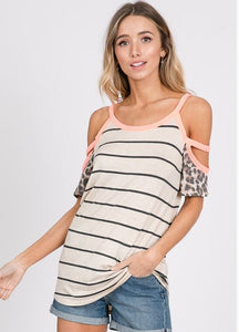 Neon Coral Striped Cold Shoulder Top