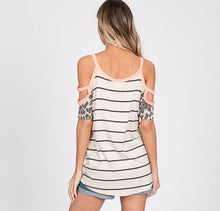 Load image into Gallery viewer, Neon Coral Striped Cold Shoulder Top