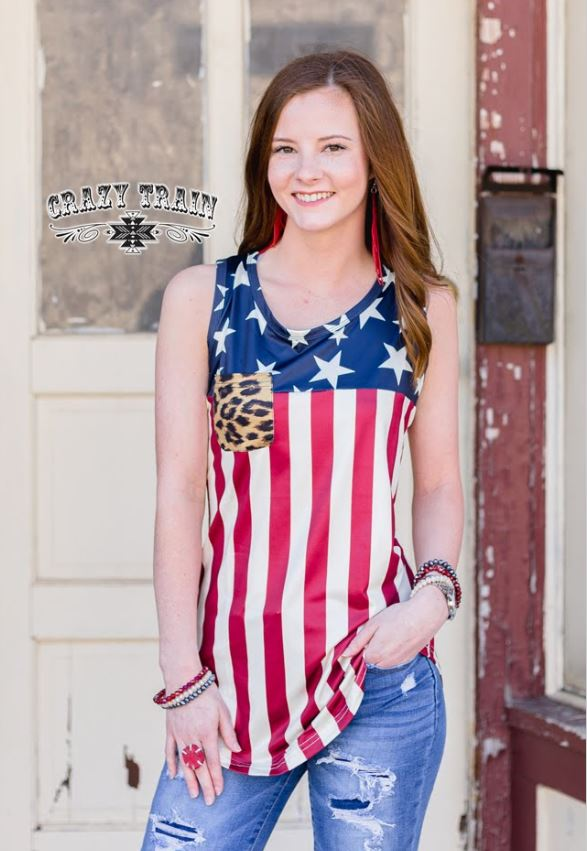 Flag Leopard Pocket Tank by Crazy Train