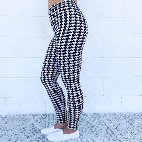 Houndstooth Black & white Leggings