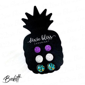 Dixie Bliss Beckett Neon Leopard Druzy Trio