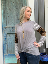 Load image into Gallery viewer, Give it to me Straight Leopard and Striped Sleeved Top