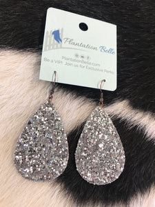 Silver Glitter Party Starter Earrings