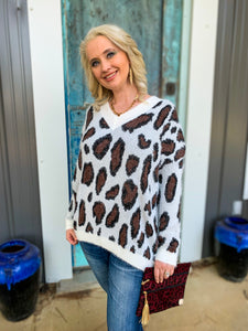 Winter Wonderful White Leopard Sweater
