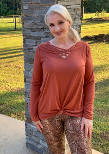 Rust Criss Cross Not so Basic  Long Sleeve