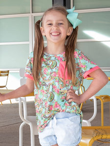 Spring Paisley Top Girls Style