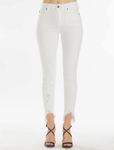 Kancan Distressed Tulip Hem White Denim