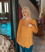 Load image into Gallery viewer, Mustard Criss Cross Not so Basic  Long Sleeve