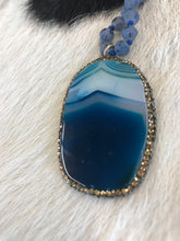 Load image into Gallery viewer, Midnight Natural Stone Pendant with Crystal Trim