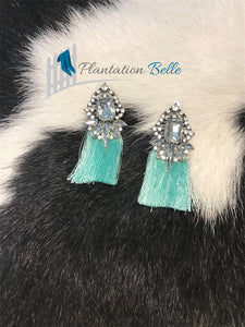 Mint Crystal Tassel Drop Earrings