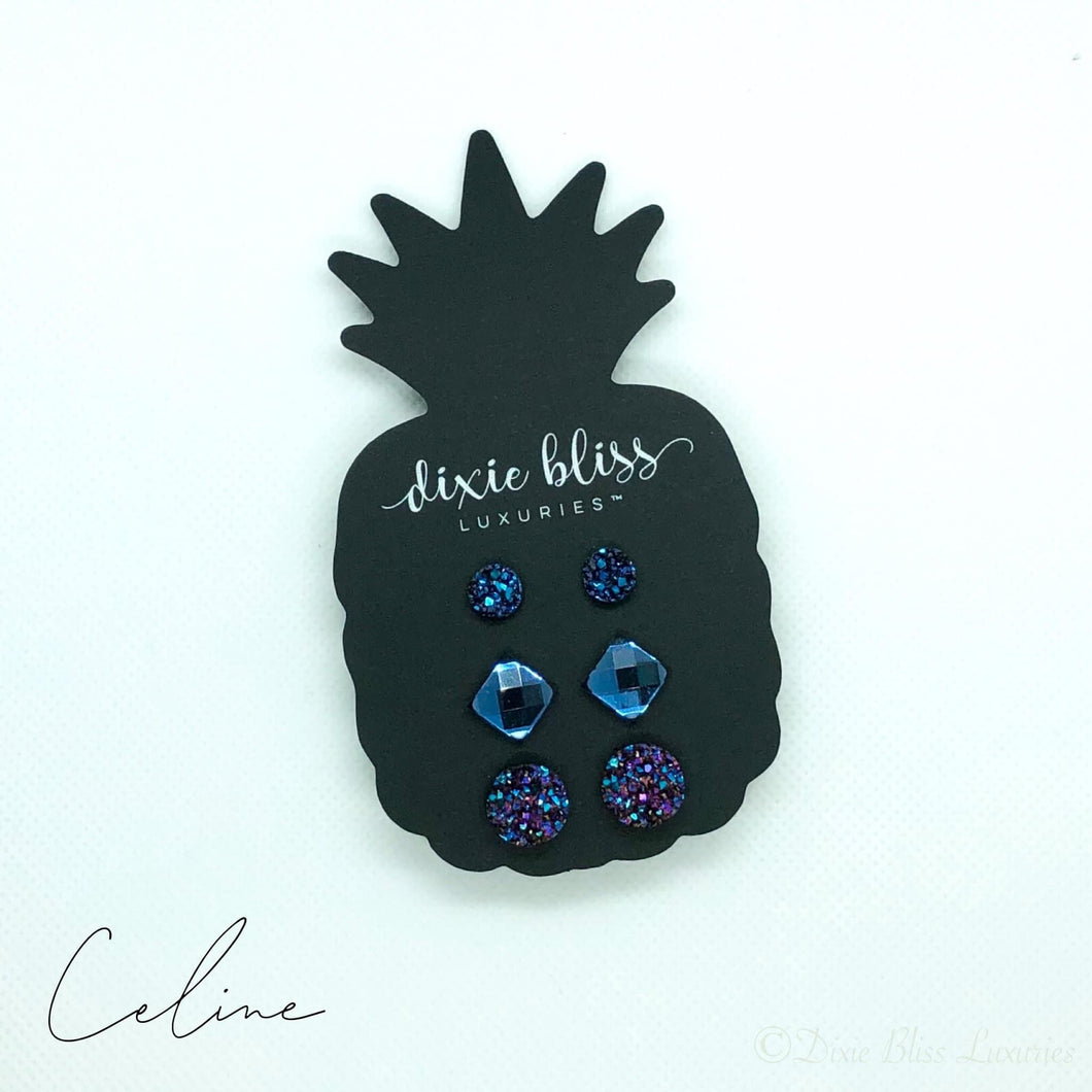 Faceted Navy Druzy Earring Trio for Sensitive Ears