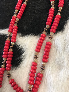 Red Stone & Crystal Bead Necklace