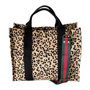 red green stripe cheetah bag