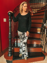 Load image into Gallery viewer, Black & Gray Tie Dye Flare Pants