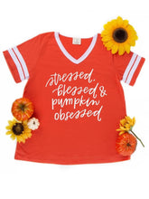 Load image into Gallery viewer, Stressed, Blessed, and Pumpkin Obsessed Ringer Tee