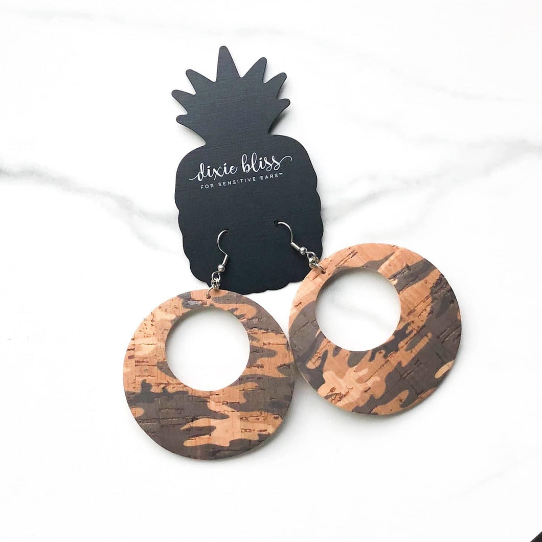Catalina Dixie Bliss Cork Distressed Camo Earrings