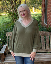 Load image into Gallery viewer, Olive Tonal Waffle Knit Top