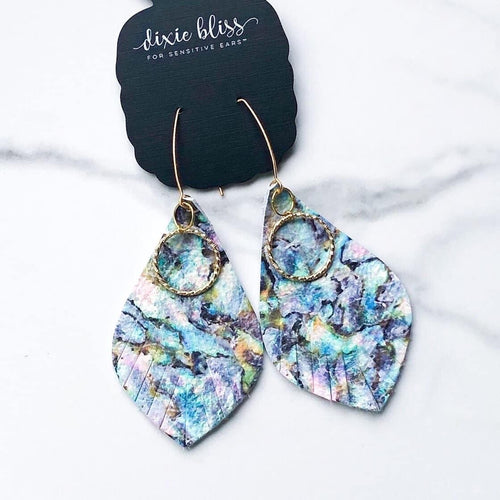 Dixie Bliss Hudson Blue Watercolor Leather Dangles