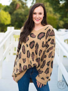 Fuzzy Leopard V Neck Sweater