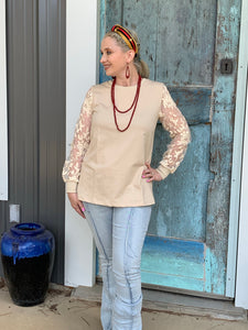 Cream Dream Lace Sleeve Top