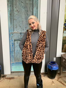 So Fluffy Leopard Pocket Vest with Hood