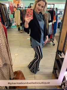 Black & White Striped Flare Work Pants