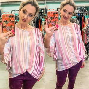 Mauve Candy Color Striped Top