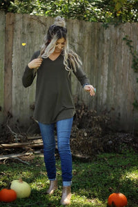 Forward march v neck top in dark olive