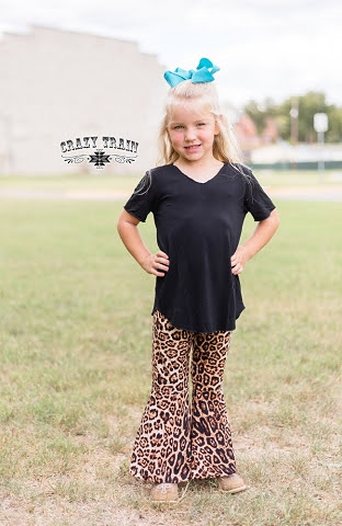 Girls Crazy Train Leopard Flare Pants