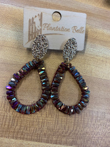 "Iridescent Maroon Bead Dangles ""So in Style"""