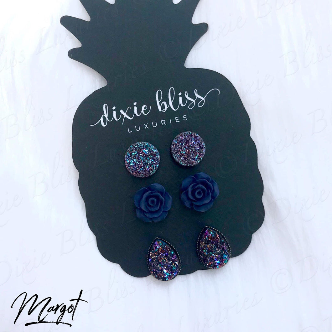 Dixie Bliss Margot Navy Roses and Druzy Trio