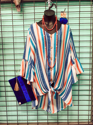 Sunshine and Breezes Striped Plus Blouse