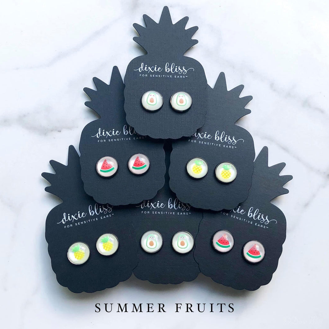 Dixie Bliss Summer Fruit Studs in Avocado, Watermelon, Pineapple