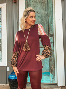 Plum Gorgeous Candy Striped & Leopard Top
