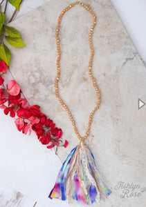 Tie Dye Tassel Necklace
