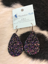 Load image into Gallery viewer, Iridescent Black Glitter Dangles