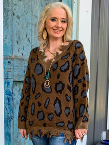 Brown and Slate Distressed Leopard Sweater